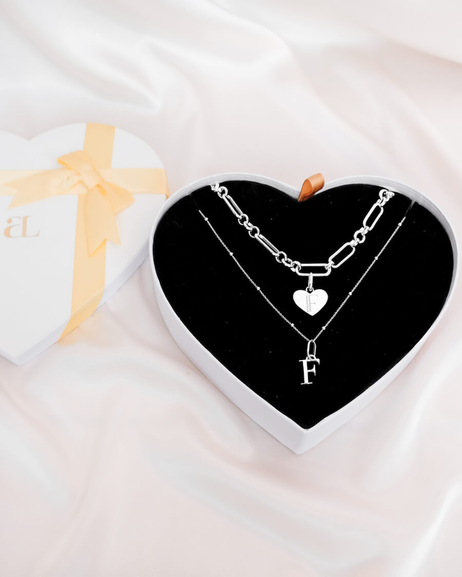 Heart Figaro & Letter Sphere Chain Love Gift Set (Silver)