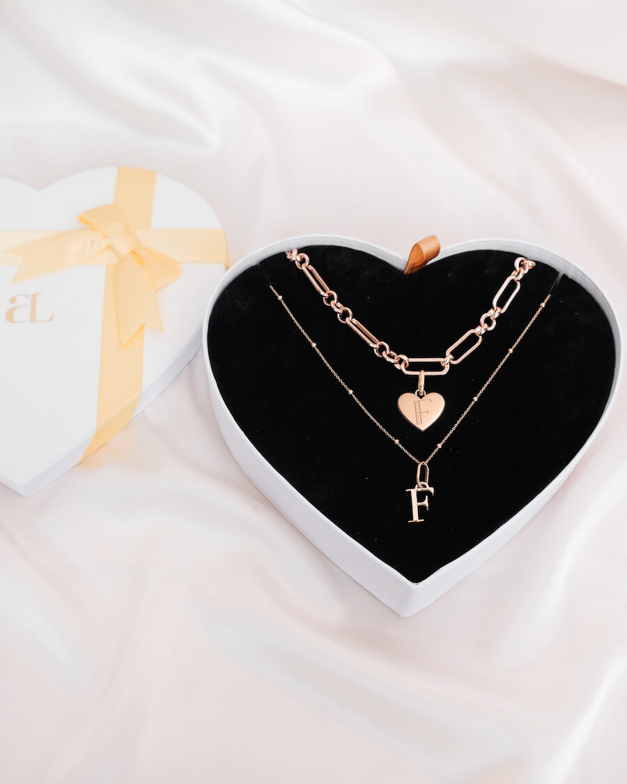 Heart Figaro & Letter Sphere Chain Love Gift Set (Rose Gold)