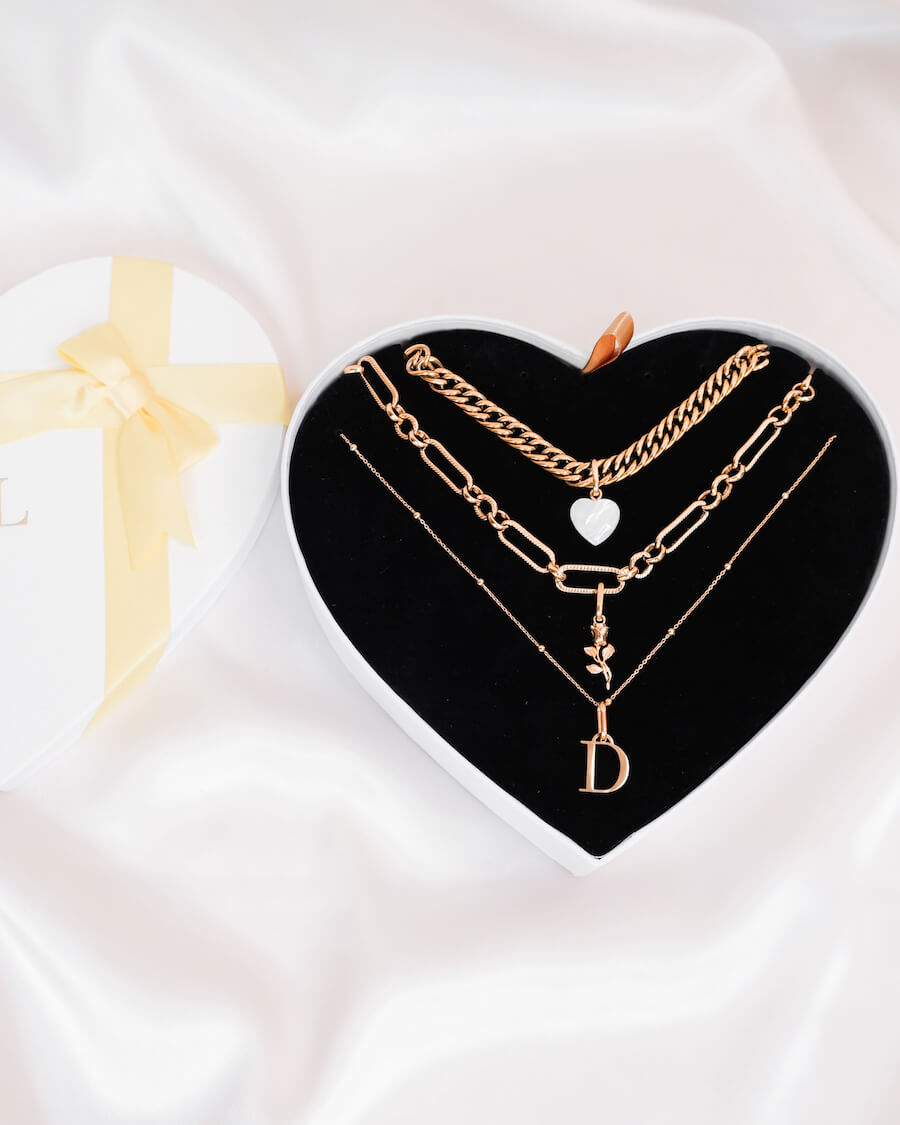 Rose Pendant Multi Chain Personalised Love Gift Set (Rose Gold)