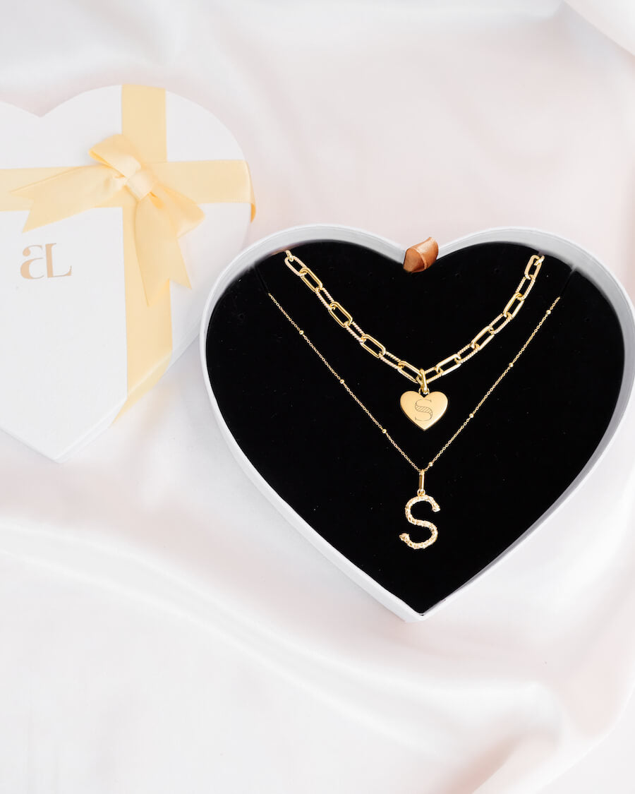Foil Letter & Heart Square Link Chain Love Gift Set (Gold)
