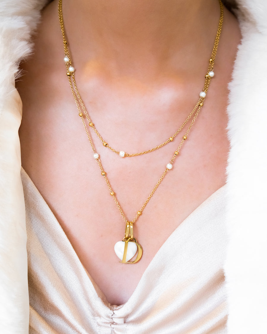 Birthstone & Letter Pearl Double Sphere Chain Necklace (Gold)