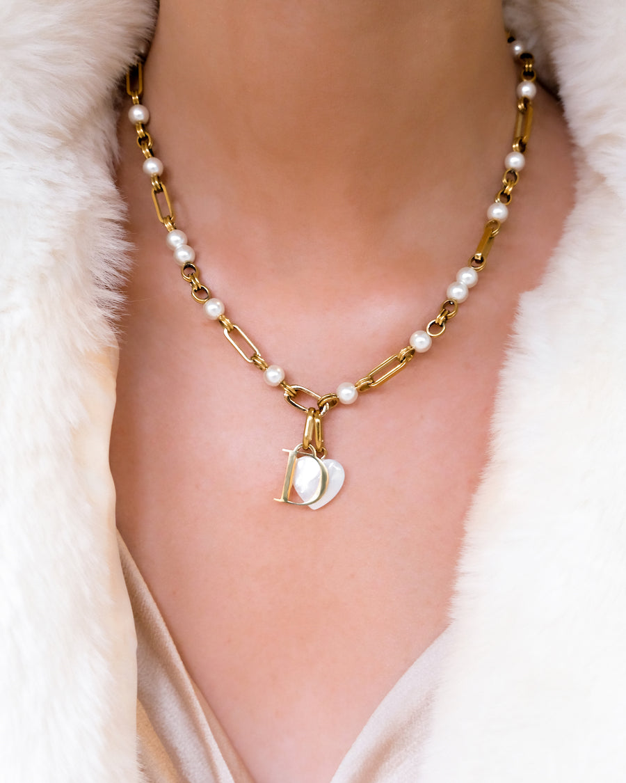 Birthstone & Letter Pearl Figaro Chain Necklace (Gold)