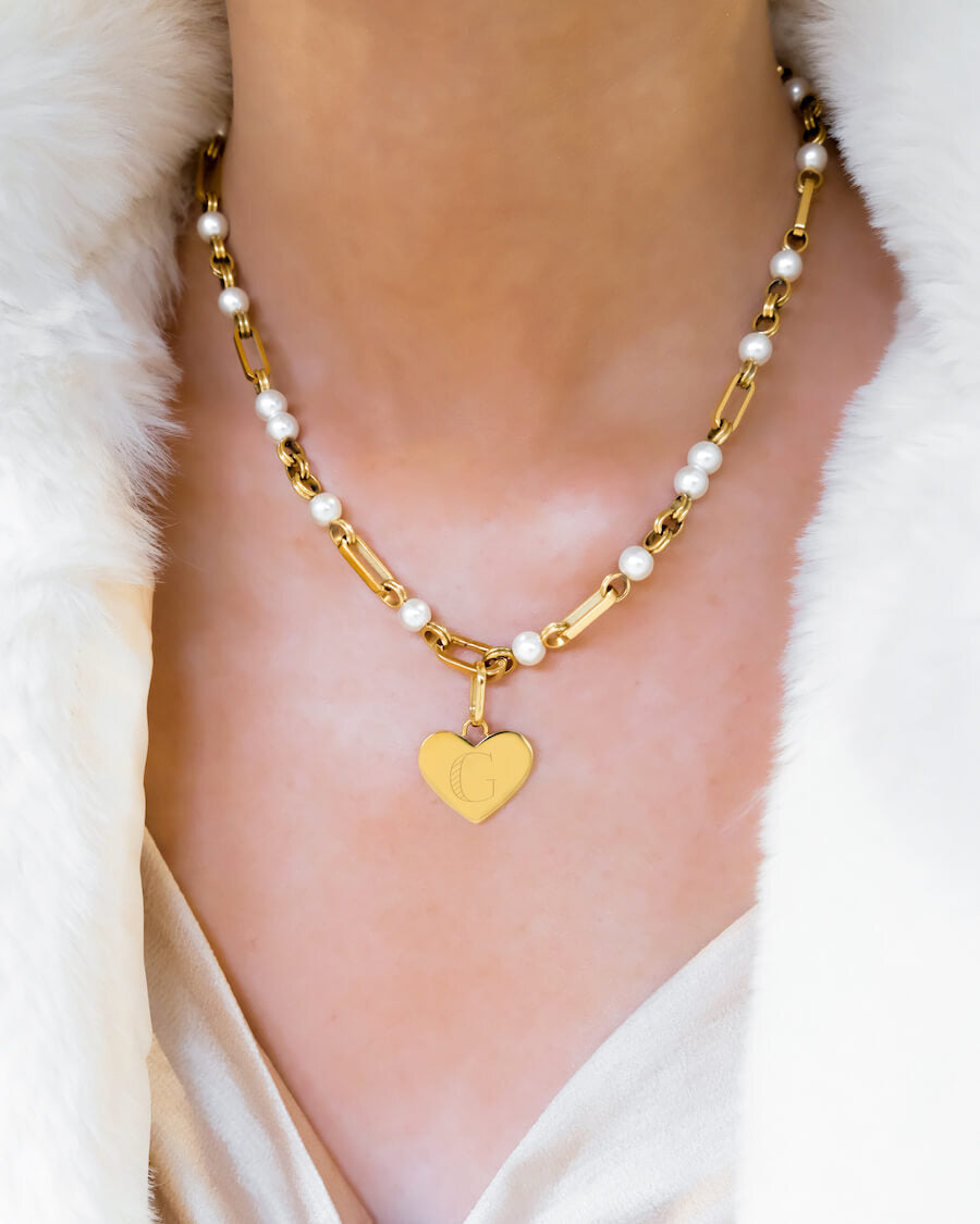 Heart Pearl Figaro Chain Necklace (Gold)