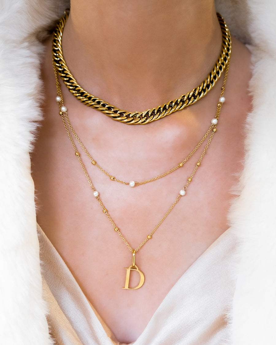 Letter Pearl Double Sphere Chain Layered Set (Gold)