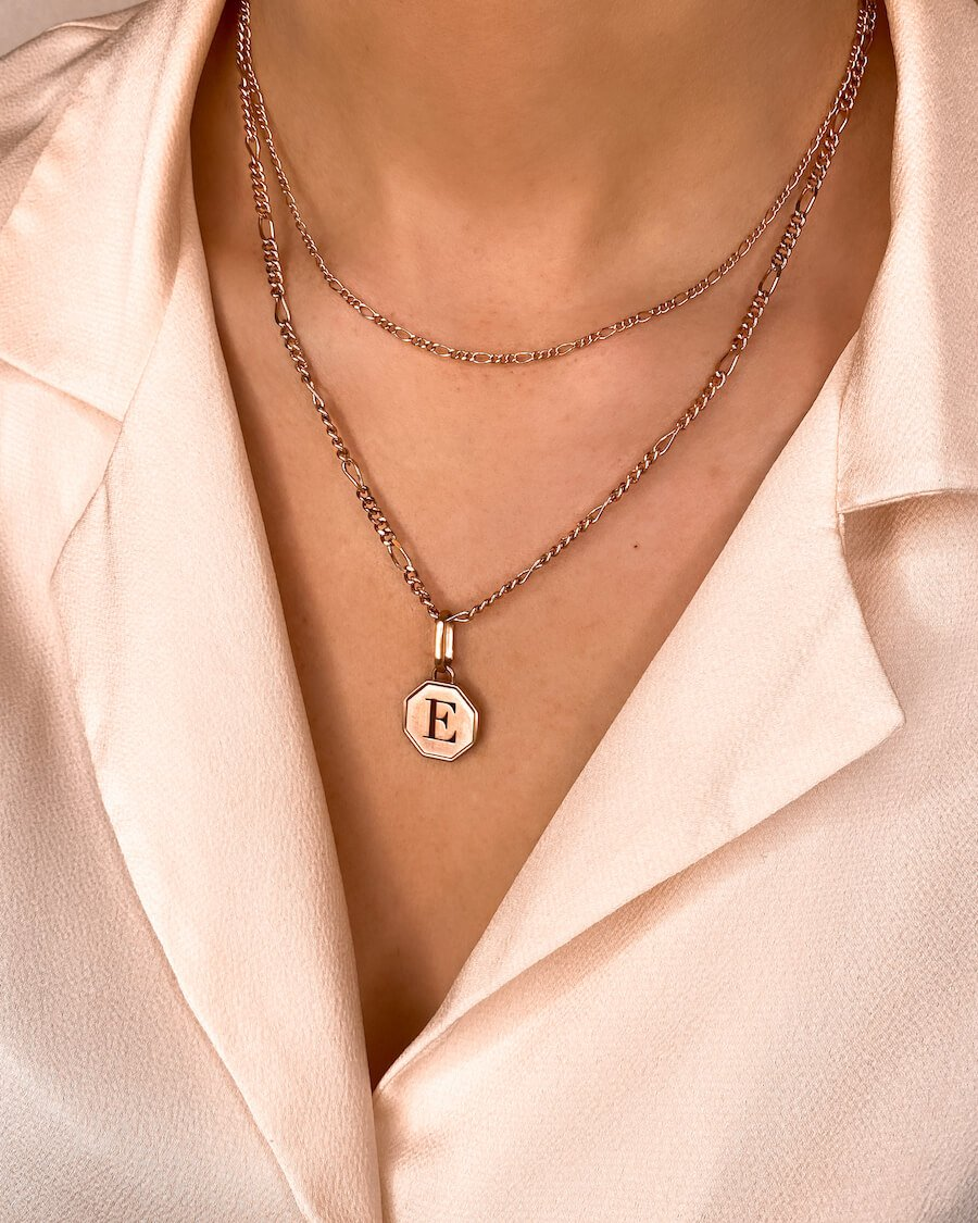 Octagon Double Chain Figaro Necklace (Rose Gold)