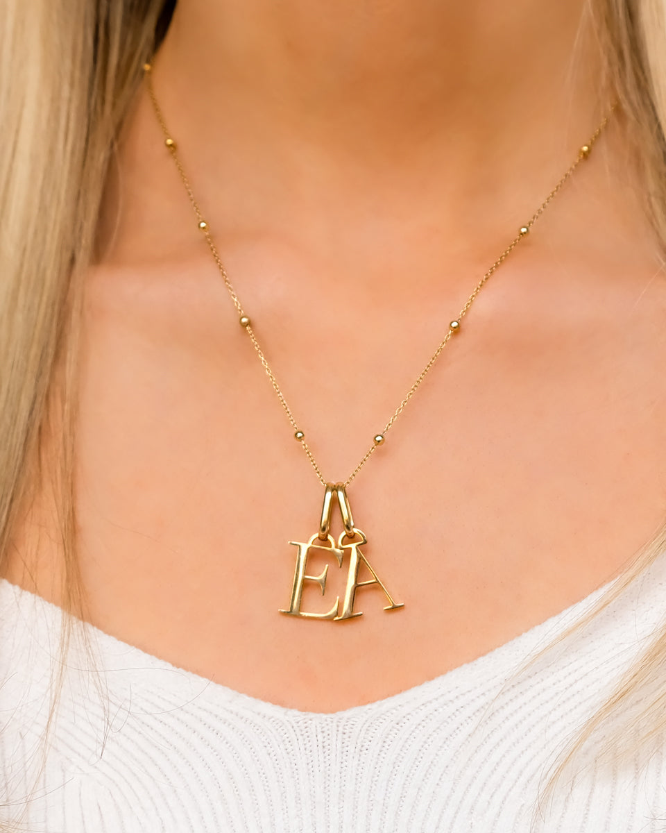 Multi Letter Sphere Chain Necklace (Gold)