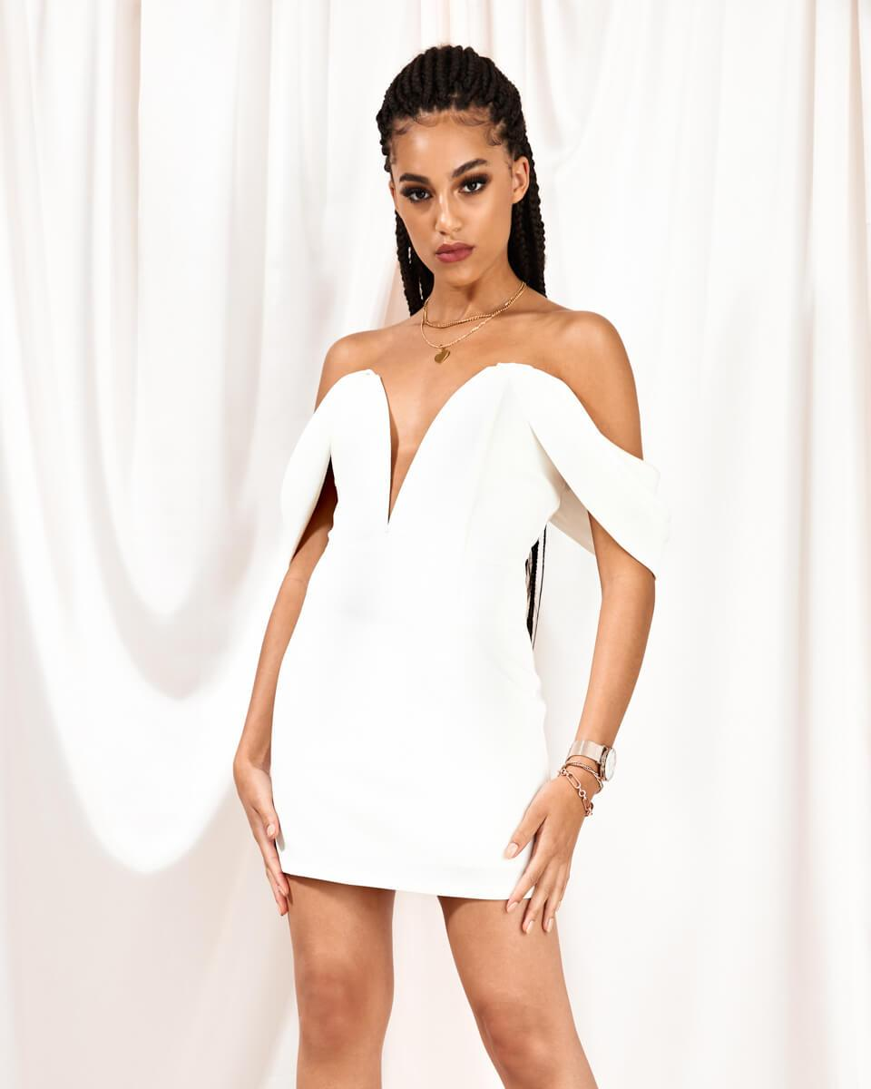 Coming soon: Aurora White Off Shoulder Mini Dress