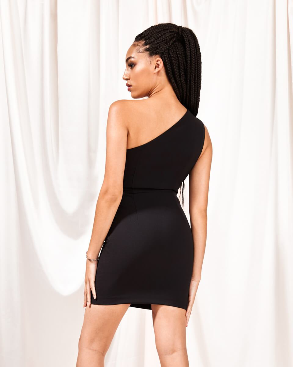 Arianna Black One Shoulder Mini Dress