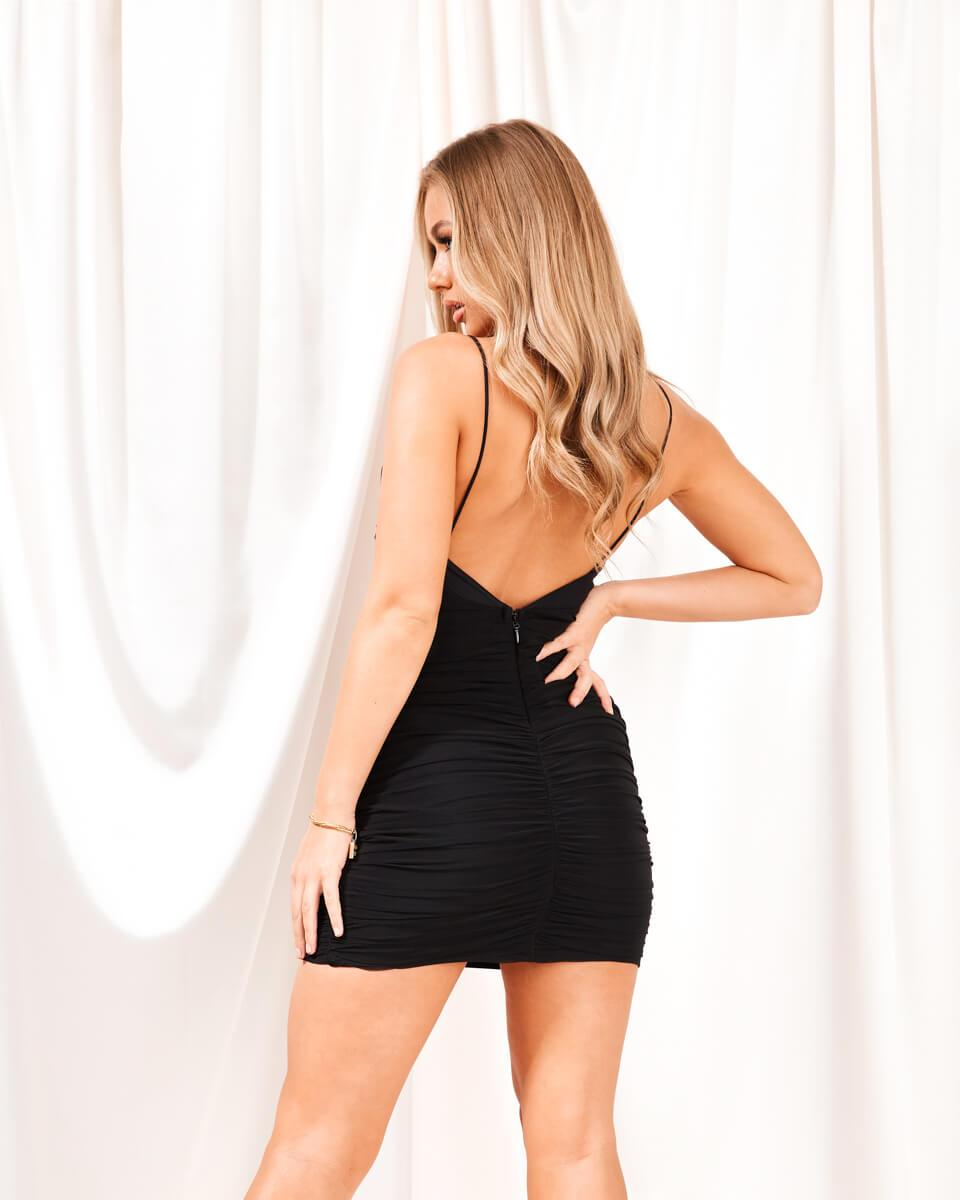 Olivia Black Ruched Mini Dress