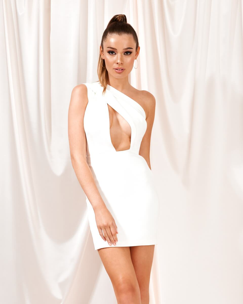 Arianna White One Shoulder Mini Dress