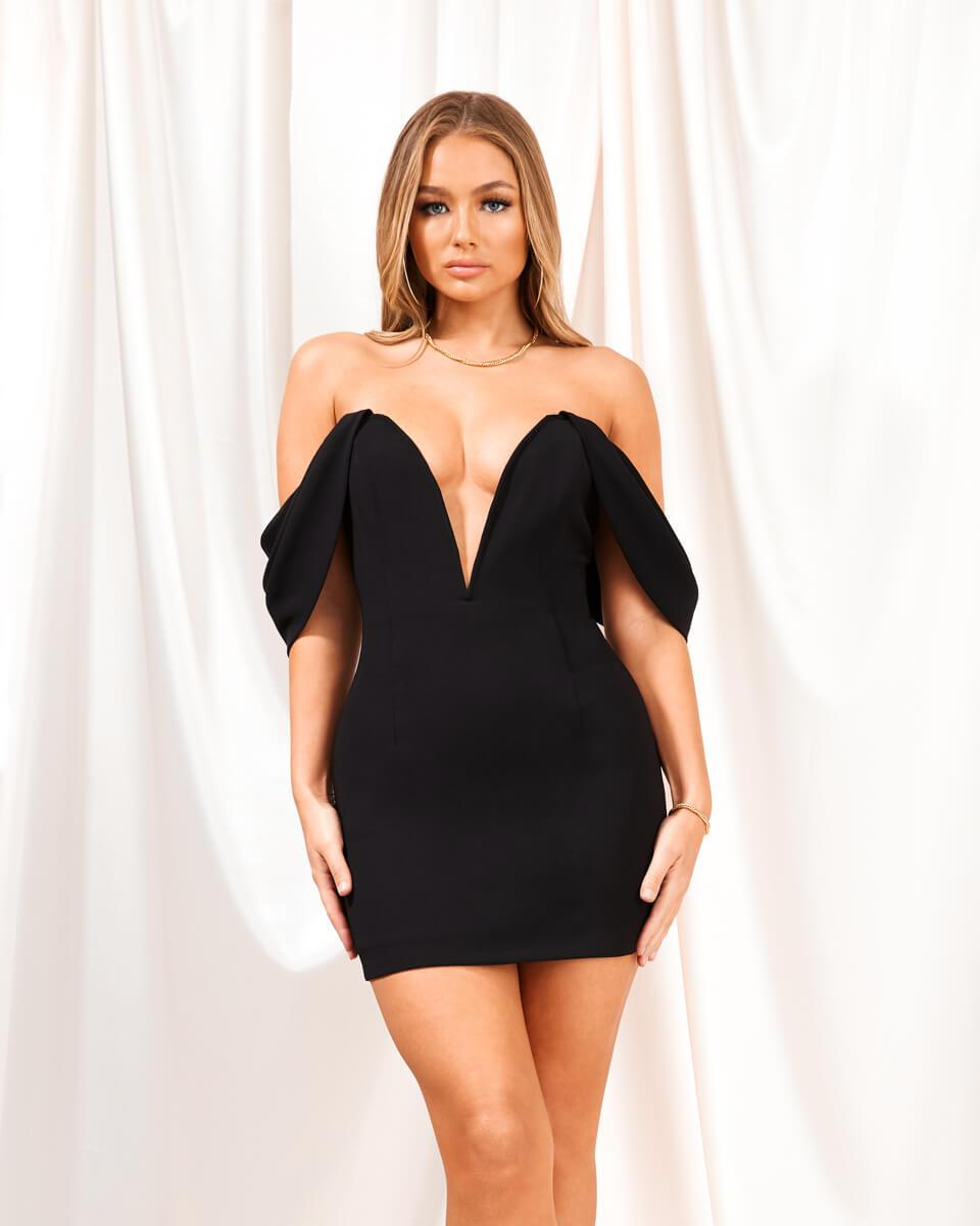 Aurora Black Off Shoulder Mini Dress