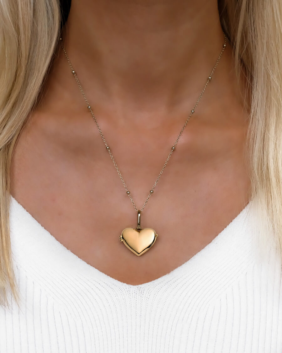 Love Locket Sphere Chain Necklace 20 in (Champagne)