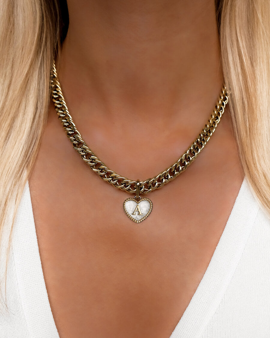 Pearl Heart Letter Curb Chain Necklace 18 in (Champagne)