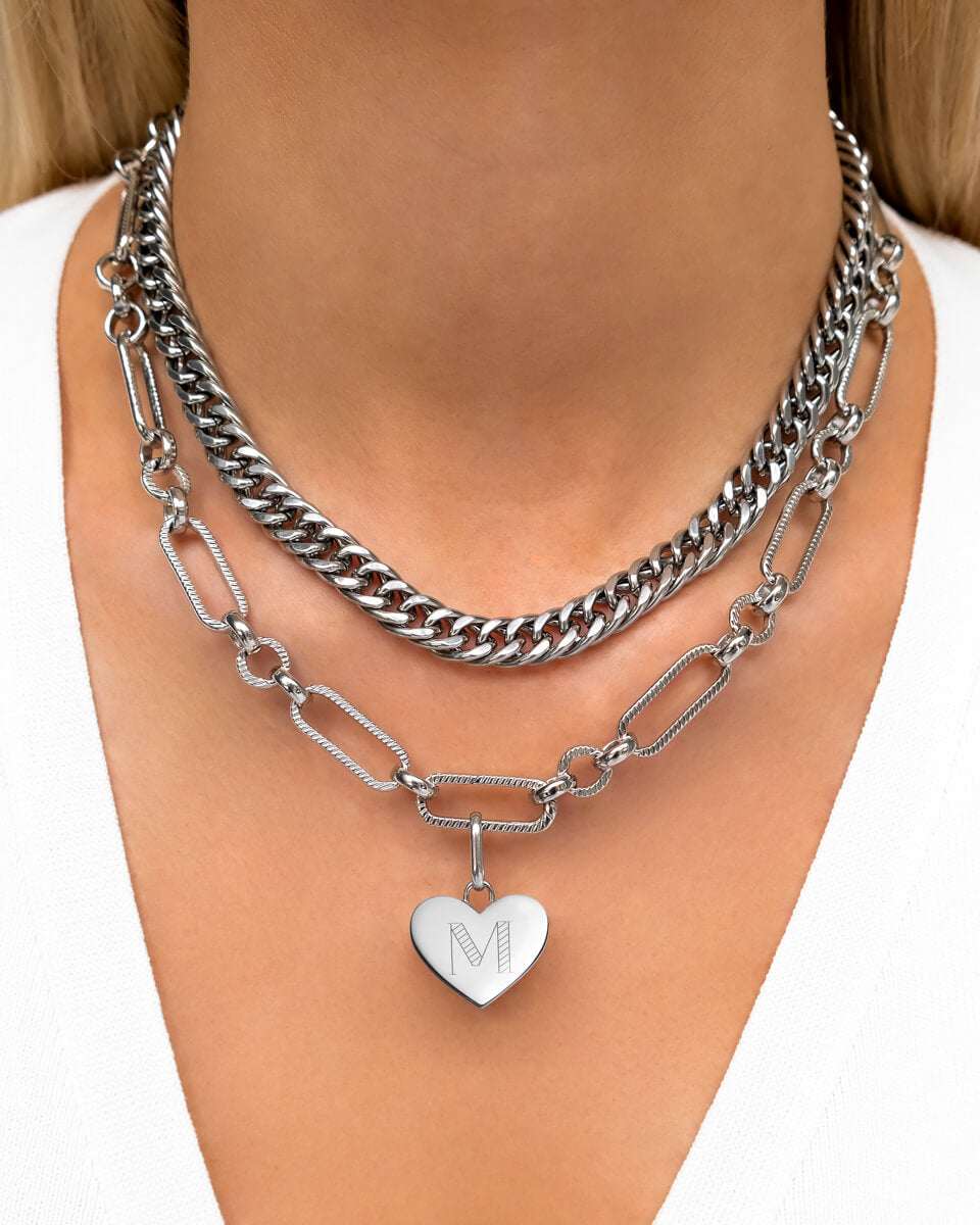 Heart Figaro Layered Set (Silver)