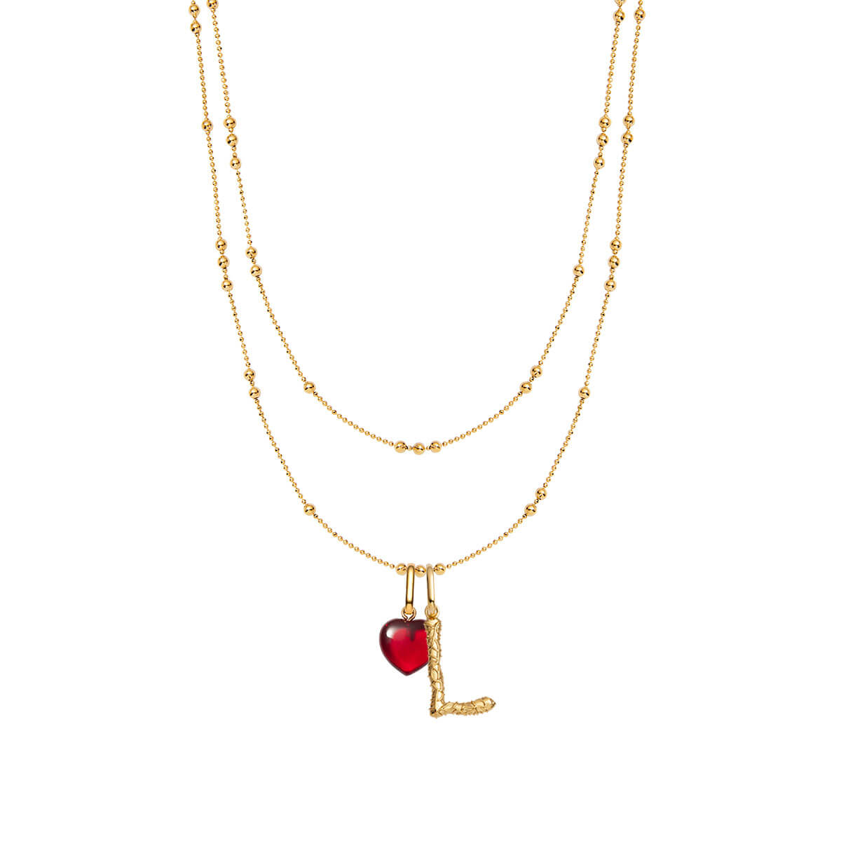 Foil Letter & Birthstone Double Sphere Chain Necklace (Gold)