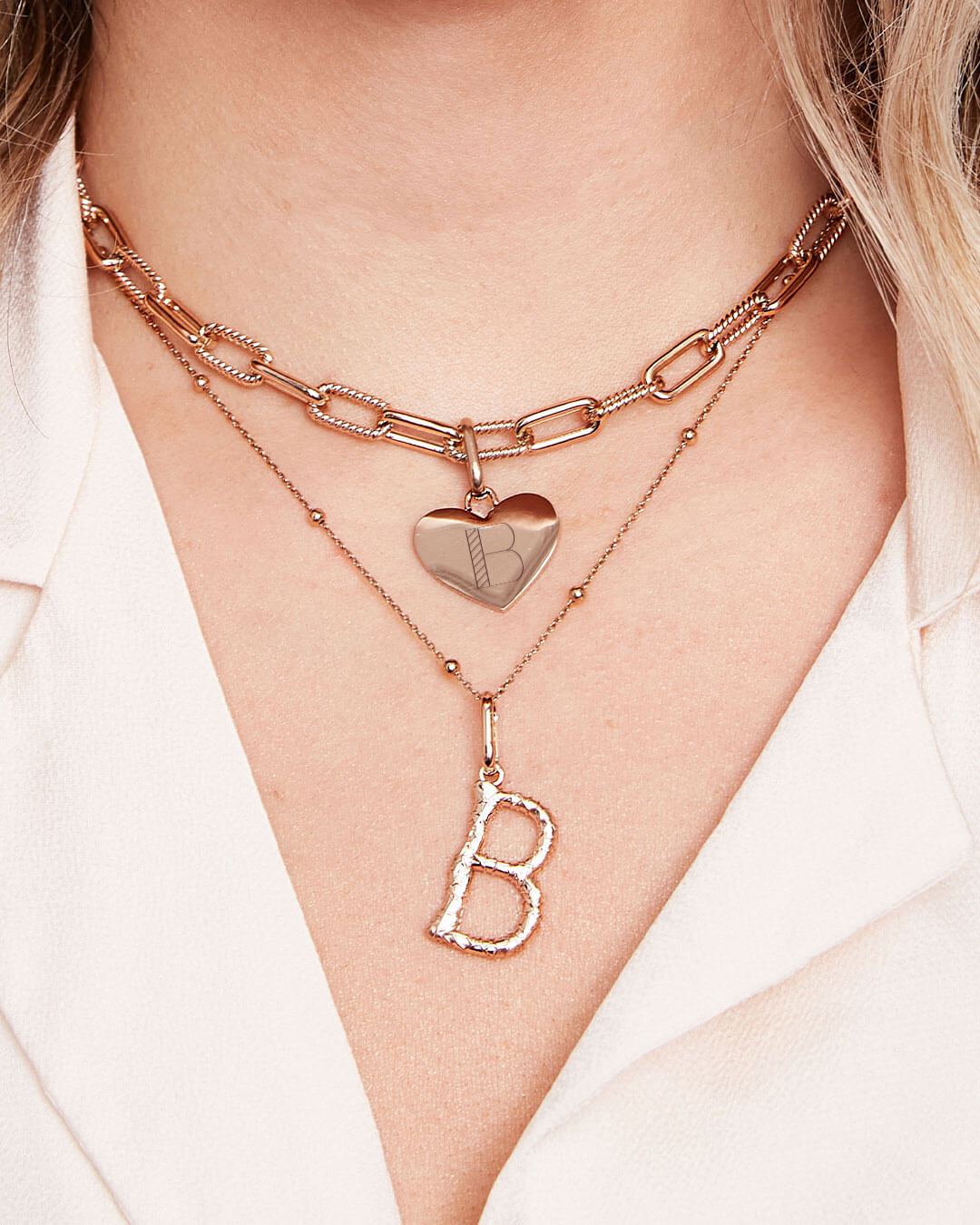 Square Link Chain Necklace (Rose Gold)