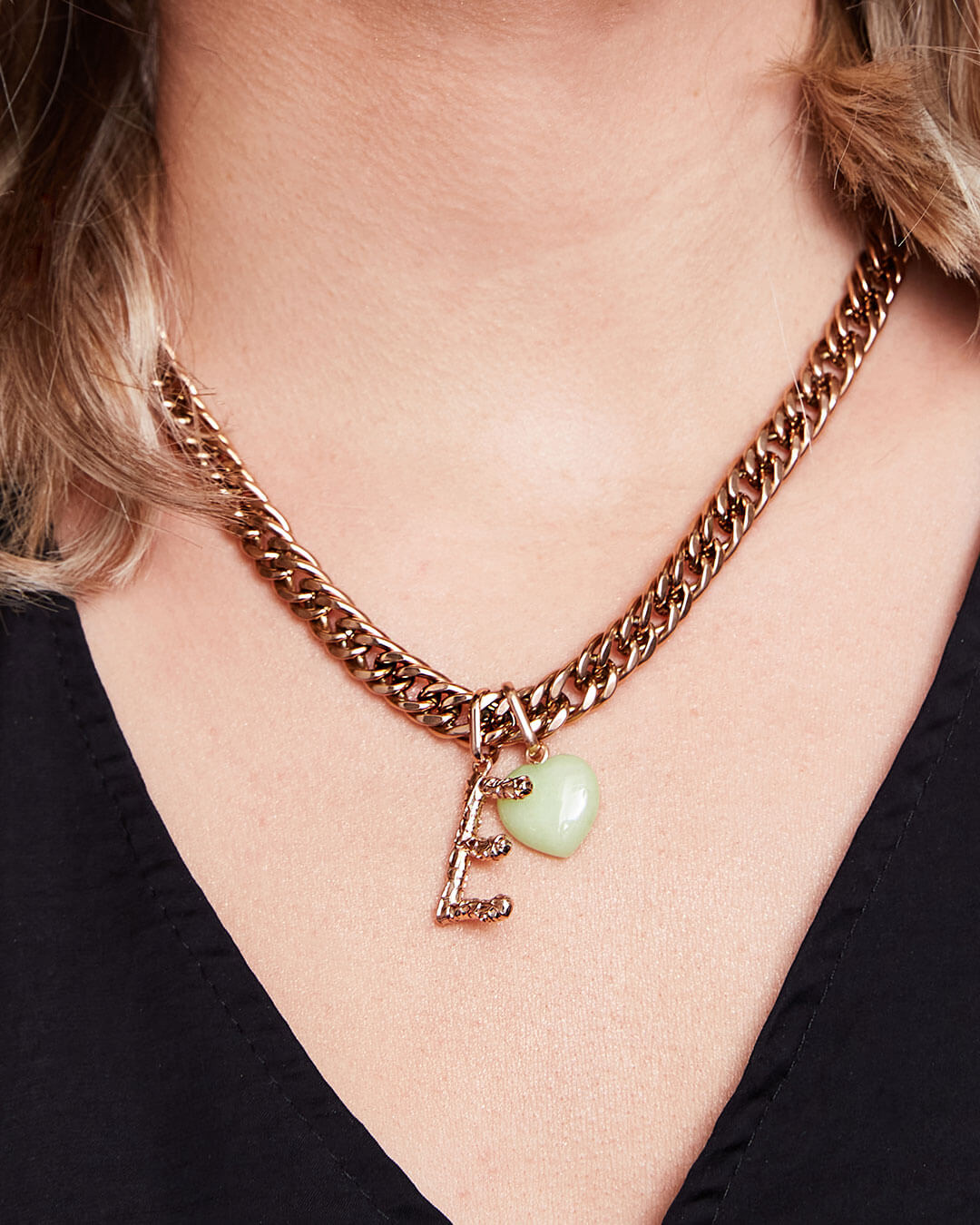 Foil Letter & Birthstone Curb Chain Necklace (Rose Gold)