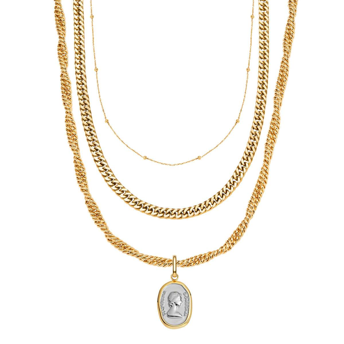 Rope Chain & Queen Pendant Layered Set (Gold)