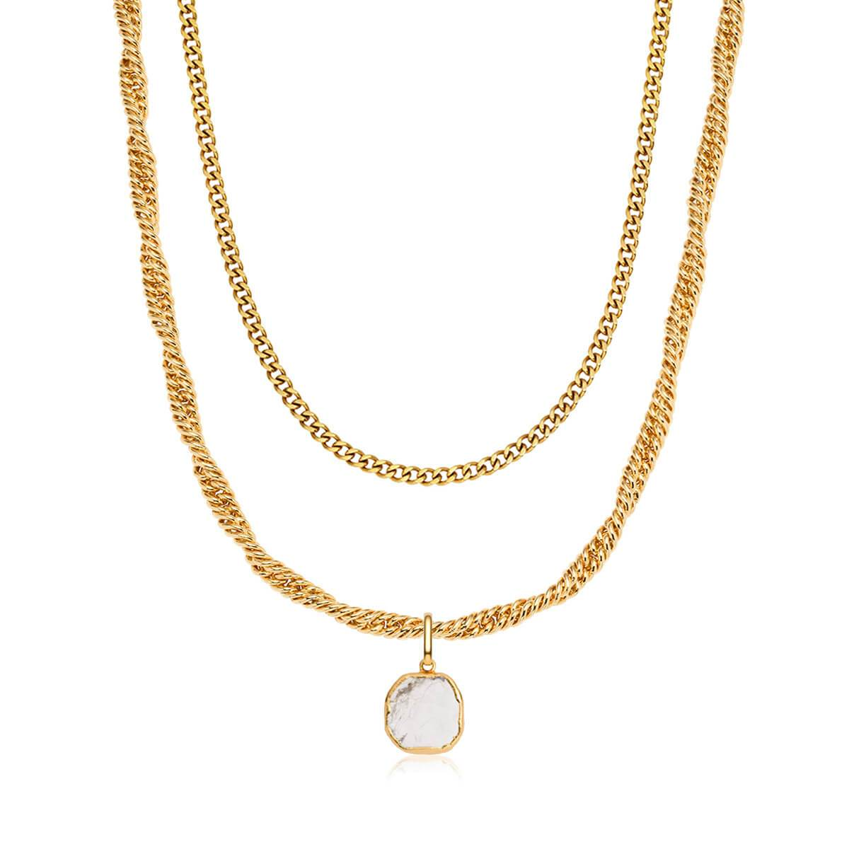 Rope Chain & Marble Pendant Layered Set (Gold)