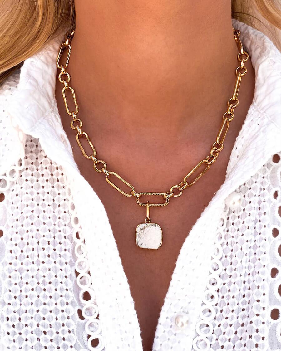 White Marble Figaro Chain Necklace (Gold)
