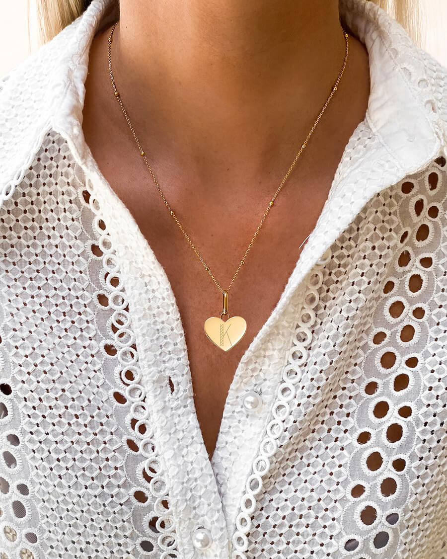 Heart Sphere Chain Necklace 20 in (Gold)