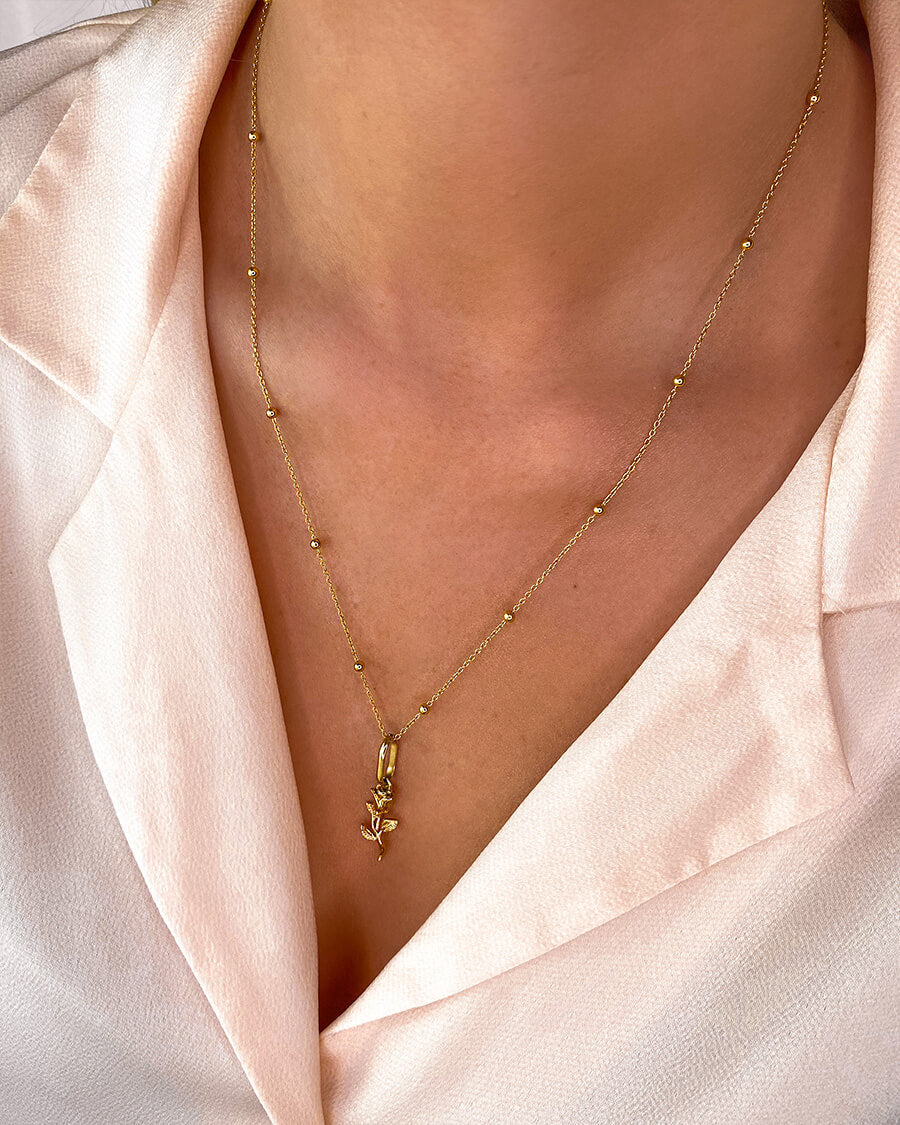 Rose Sphere Chain Necklace 20 in (Gold)