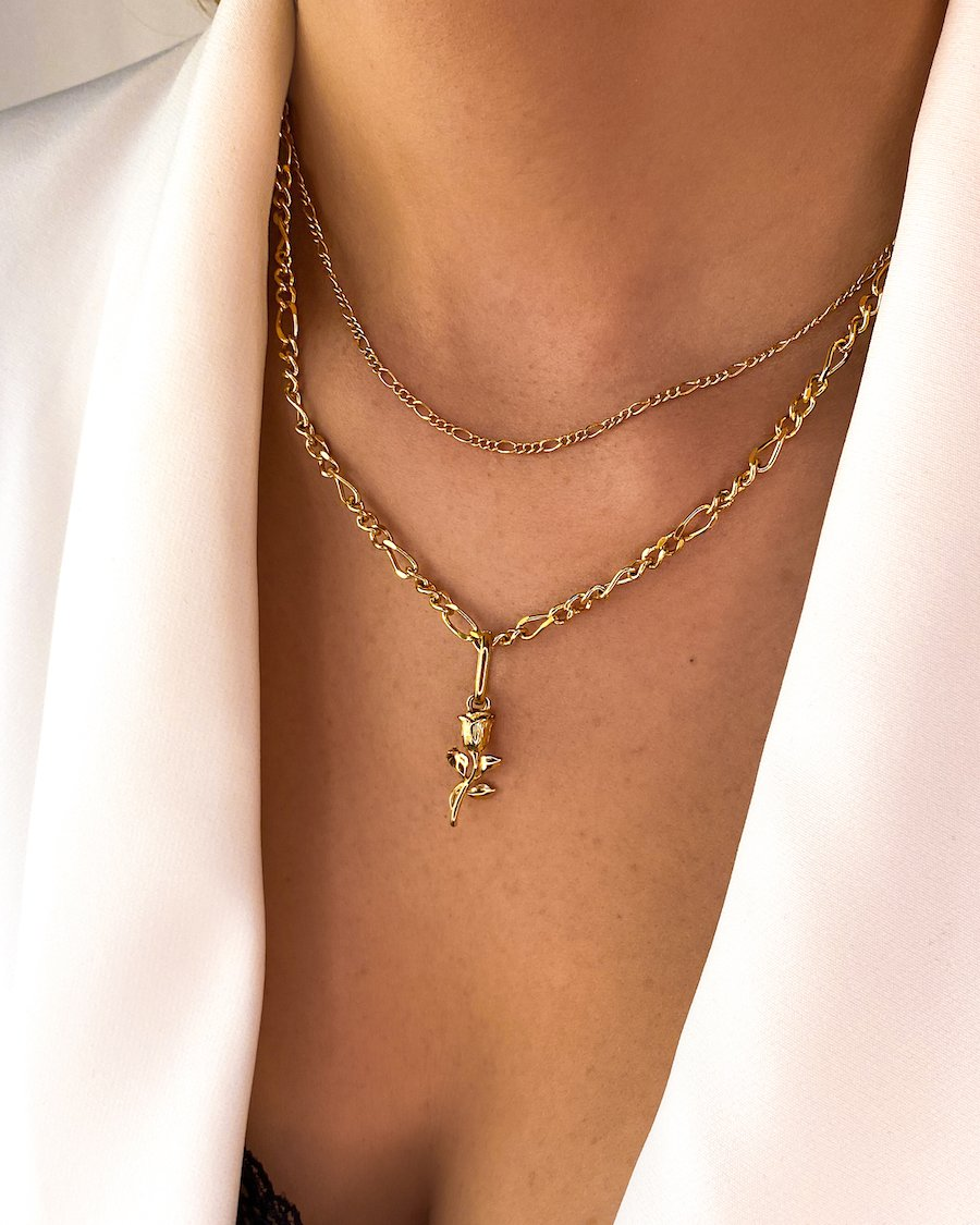 Rose Double Chain Figaro Necklace (Gold)