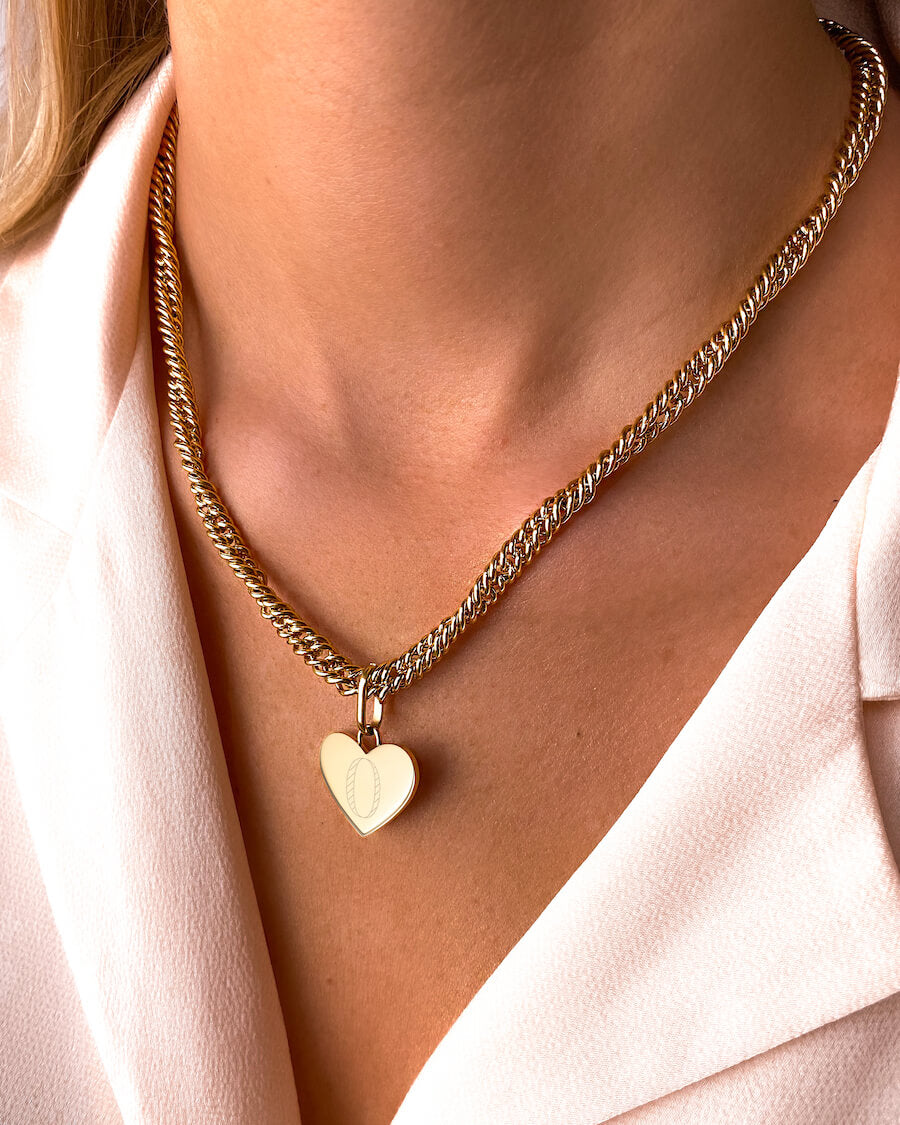Heart Rope Chain Necklace (Gold)