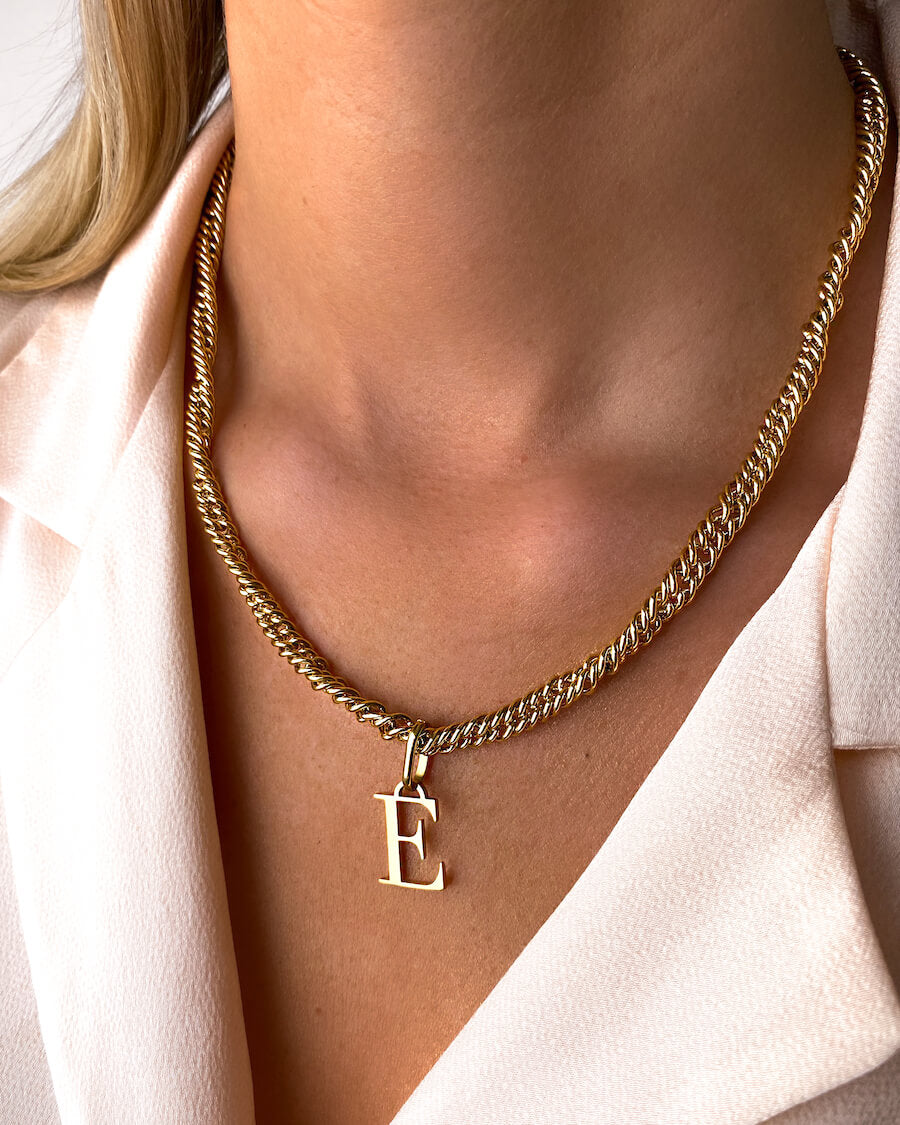 Letter Rope Chain Necklace (Gold)