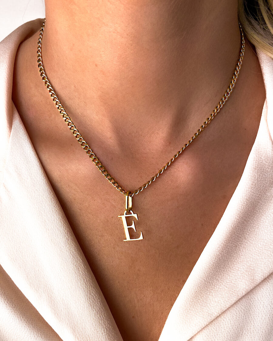 Letter Small Curb Chain Necklace (Gold)