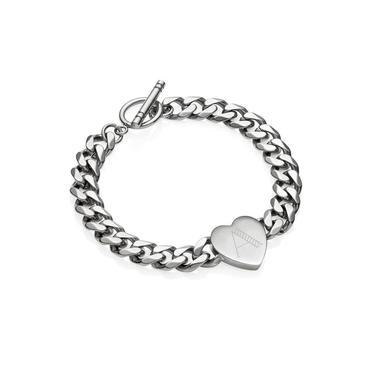 Heart Curb Chain Personalise Bracelet (Silver)