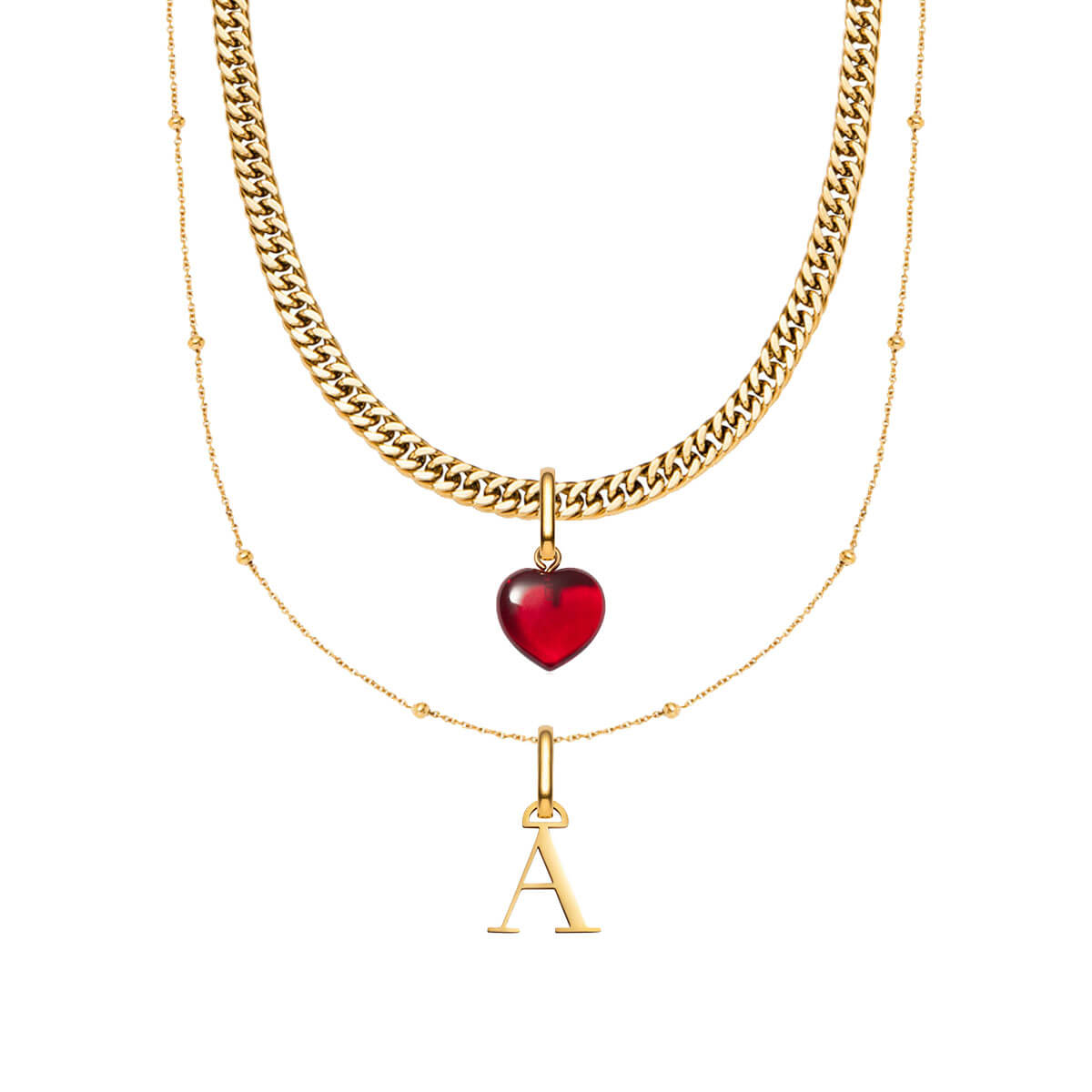 Letter Sphere & Birthstone Curb Chain Love Gift Set (Gold)