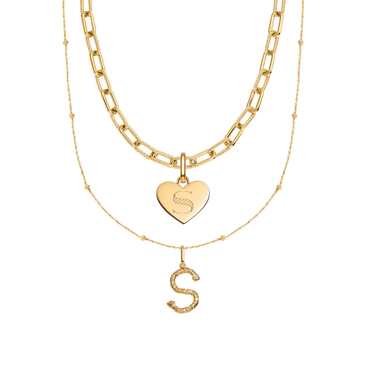 Foil Letter & Heart Square Link Chain Layered Set (Gold)