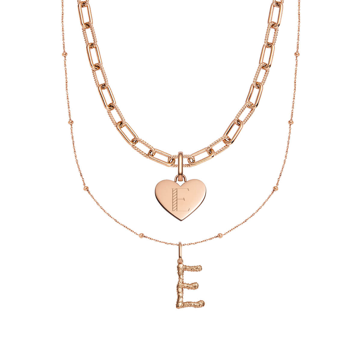 Foil Letter & Heart Square Link Chain Love Gift Set (Rose Gold)