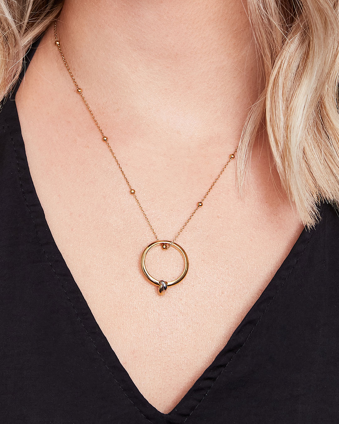 Knot Sphere Chain Necklace (Gold)