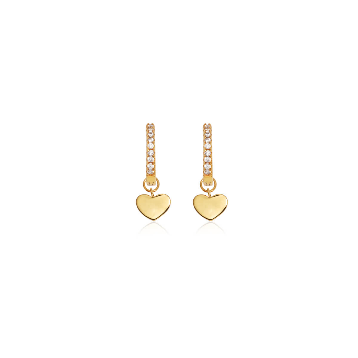 Sterling Silver Mini Heart Crystal Earrings (Gold)