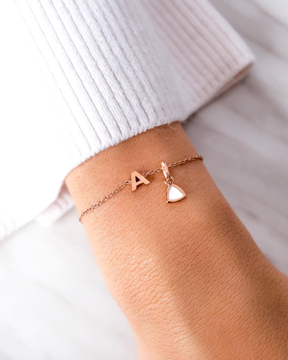Birthstone & Little Luxe Letter Bracelet (Rose Gold)