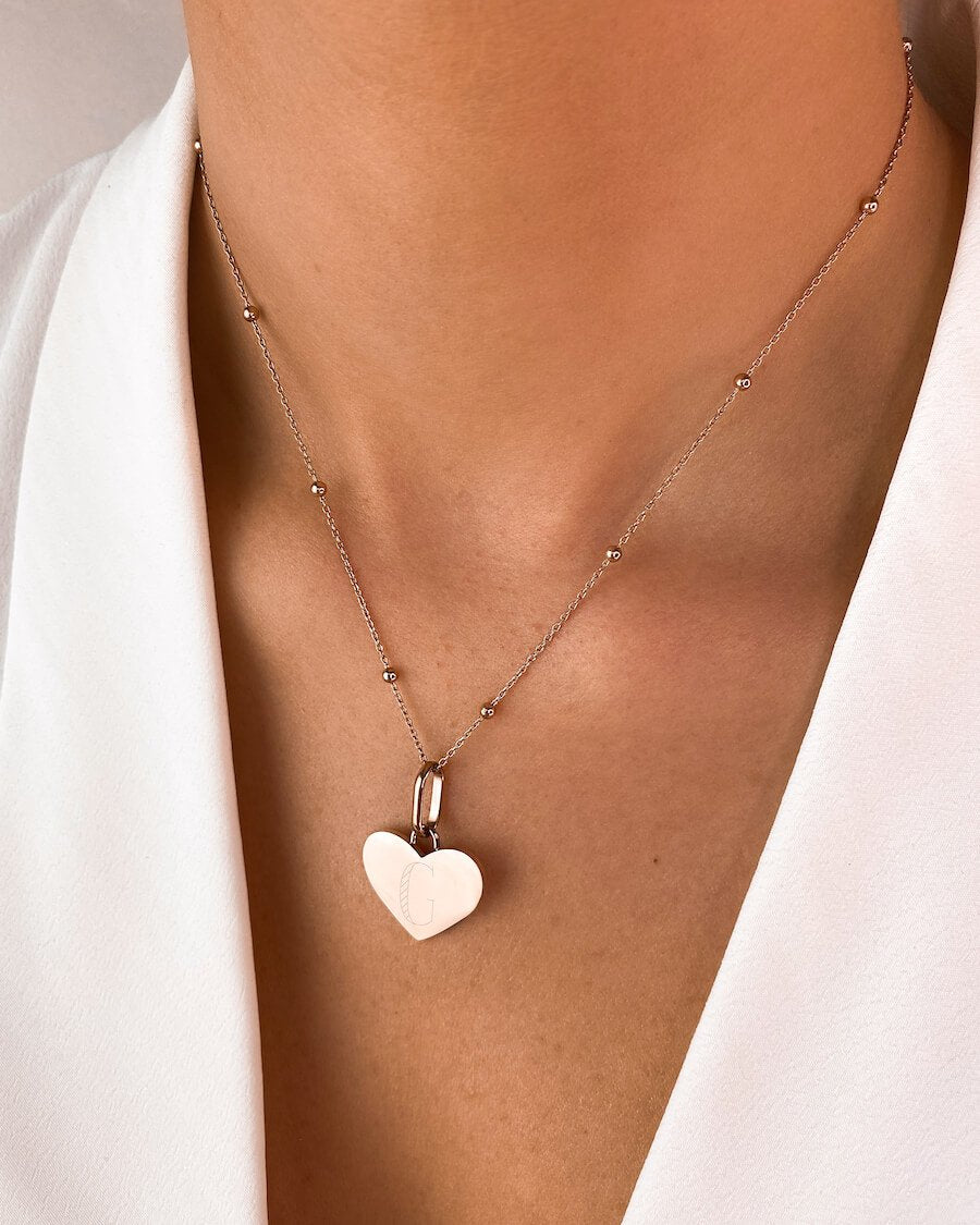 Heart Sphere Chain Necklace 16 in (Rose Gold)