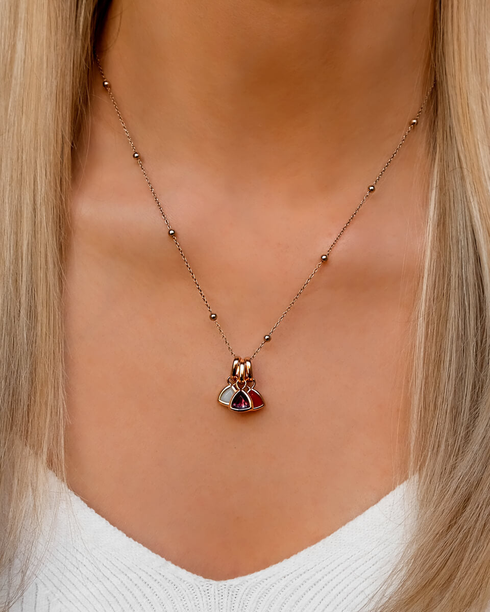 Droplet Birthstone Sphere Chain Necklace (Rose Gold)