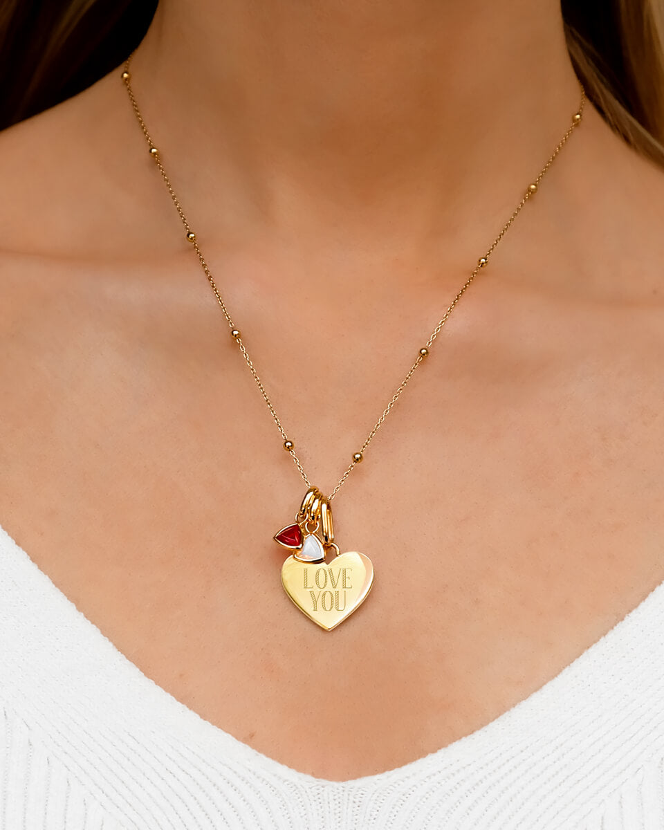 Droplet Birthstone & Heart Sphere Chain Necklace (Gold)