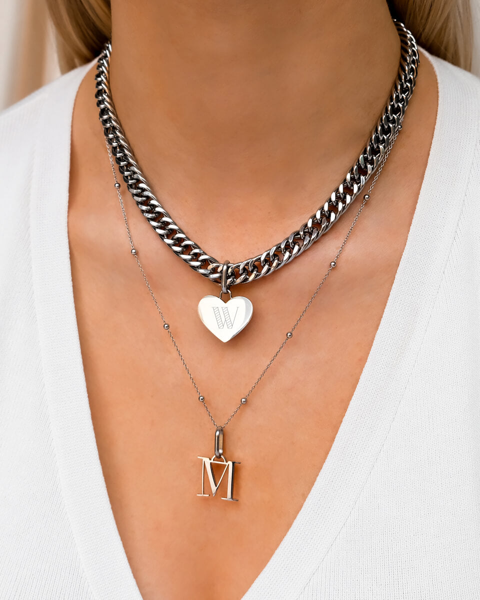 Heart Curb & Letter Layered Set (Silver)