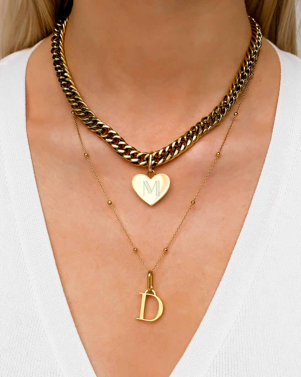 Heart Curb & Letter Layered Set (Gold)