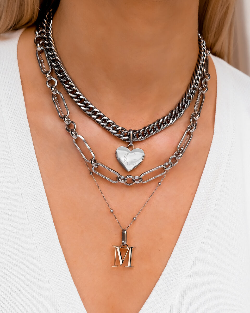 Heart & Letter Multi Chain Layered Set (Silver)