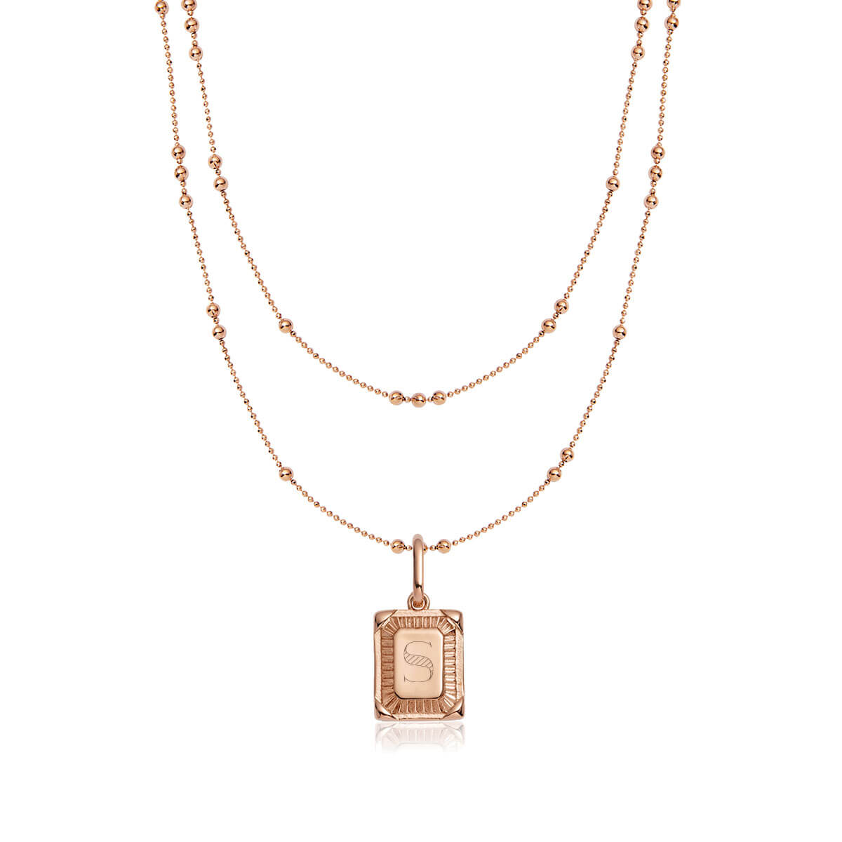 Personalise Double Sphere Chain Necklace (Rose Gold)