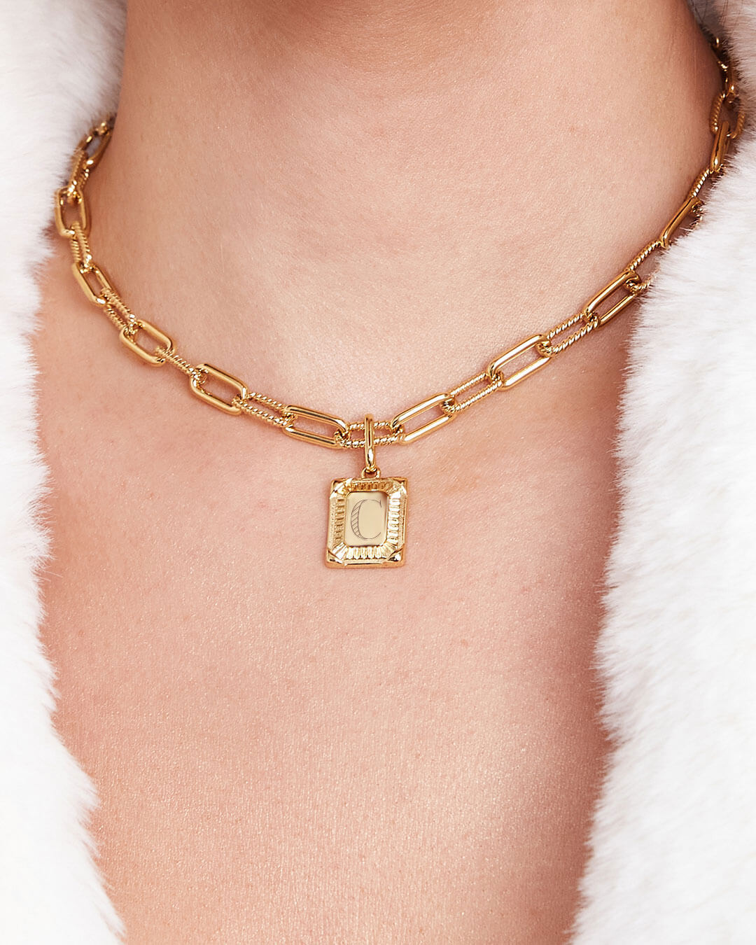 Personalise Square Link Chain Necklace (Gold)