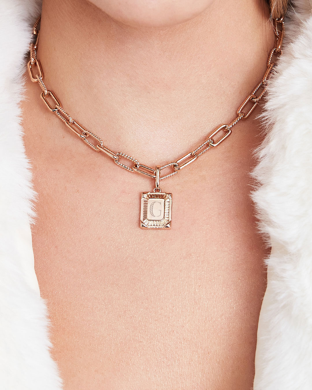 Personalise Square Link Chain Necklace (Rose Gold)