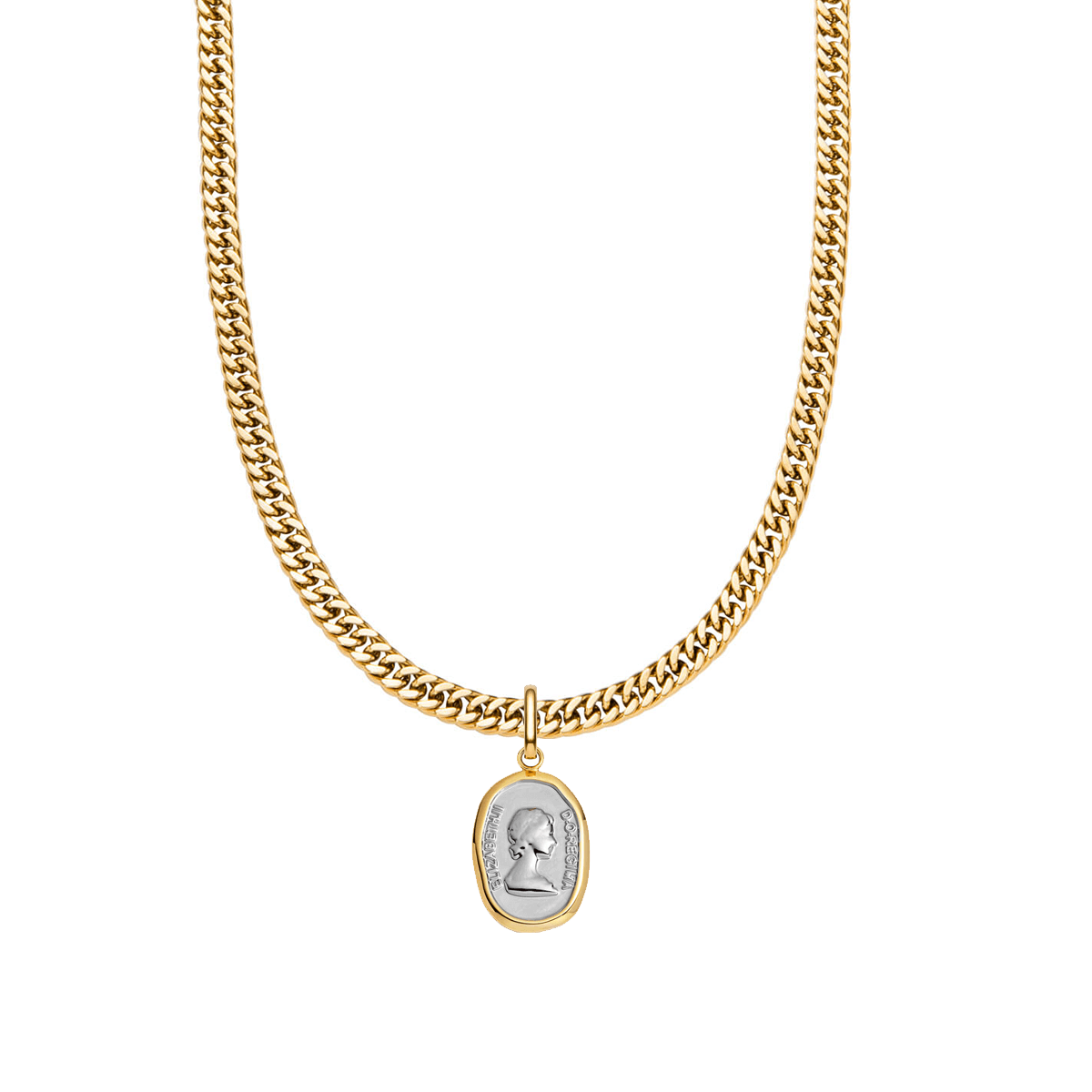 Queen Curb Chain Necklace 16 in (Gold)