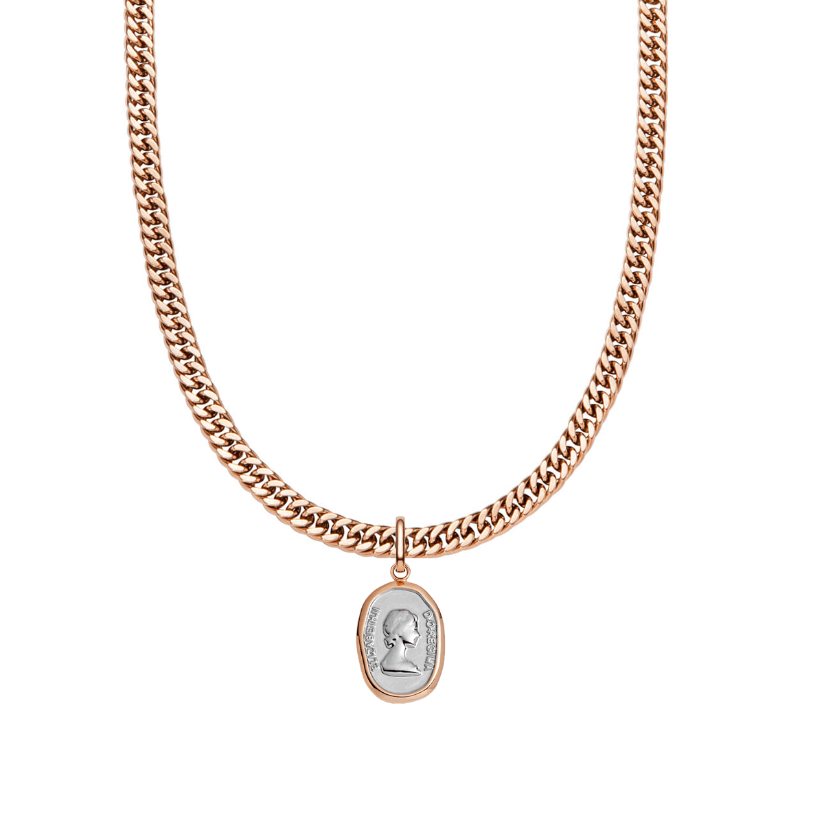 Queen Curb Chain Necklace 18 in (Rose Gold)