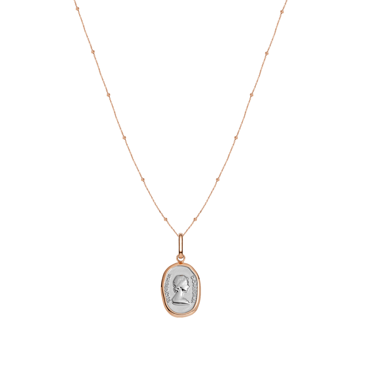 Queen Sphere Chain Necklace 16 in (Rose Gold)
