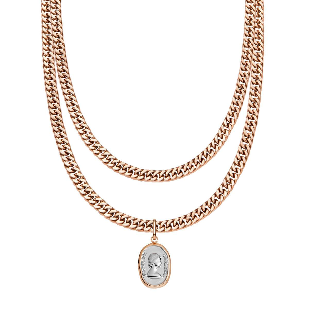 Curb Chain & Queen Pendant Layered Set (Rose Gold)
